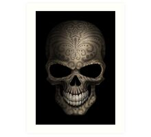 Decorated Dark Sugar Skull Art Print