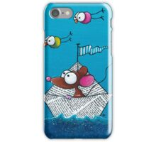 Mouse sails in his paper boat iPhone Case/Skin