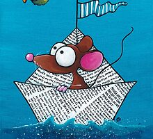 Mouse sails in his paper boat by StressieCat