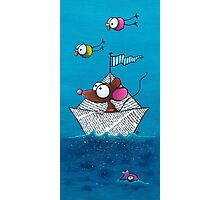 Mouse sails in his paper boat Photographic Print