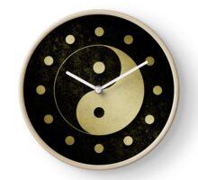 Gold Grunge Yin Yang Symbol Clock