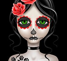 Sad Day of the Dead Girl on Black by Jeff Bartels