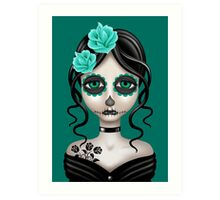 Sad Day of the Dead Girl on Teal Blue Art Print