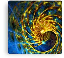 Abstract Geometric Life Blue Gold Canvas Print