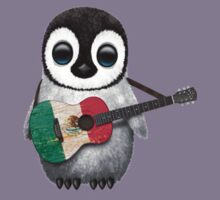 Baby Penguin Playing Mexican Flag Guitar Kids Clothes