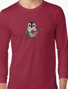 Baby Penguin Playing Mexican Flag Guitar Long Sleeve T-Shirt