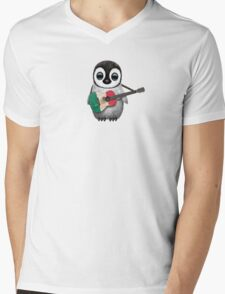 Baby Penguin Playing Mexican Flag Guitar Mens V-Neck T-Shirt