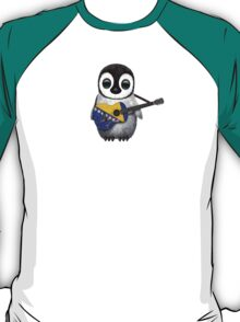 Baby Penguin Playing Bosnia-Herzegovina Flag Guitar T-Shirt