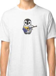 Baby Penguin Playing Bosnia-Herzegovina Flag Guitar Classic T-Shirt