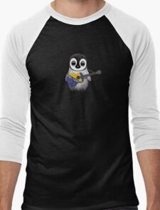Baby Penguin Playing Bosnia-Herzegovina Flag Guitar Men's Baseball ¾ T-Shirt