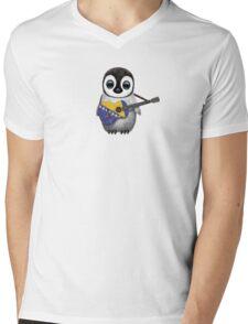 Baby Penguin Playing Bosnia-Herzegovina Flag Guitar Mens V-Neck T-Shirt