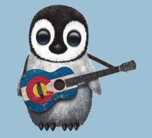 Baby Penguin Playing Colorado Flag Guitar Kids Clothes