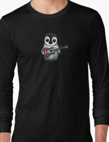 Baby Penguin Playing Colorado Flag Guitar Long Sleeve T-Shirt