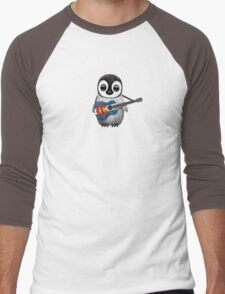 Baby Penguin Playing Colorado Flag Guitar Men's Baseball ¾ T-Shirt