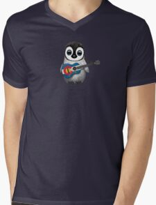 Baby Penguin Playing Colorado Flag Guitar Mens V-Neck T-Shirt