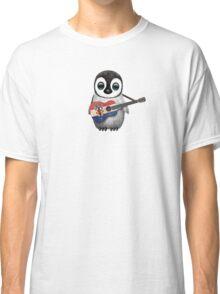 Baby Penguin Playing Croatian Flag Guitar Classic T-Shirt