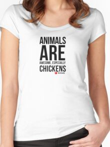 Animal Quote Designs-Chickens, Love Animals Women's Fitted Scoop T-Shirt