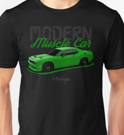 Modern Muscle car. Dodge Challenger (green) Unisex T-Shirt