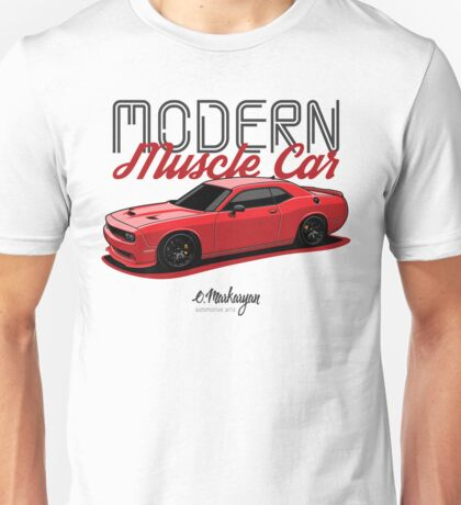 Modern Muscle car. Dodge Challenger (red) Unisex T-Shirt
