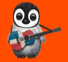 Baby Penguin Playing Dominican Republic Flag Guitar Kids Clothes