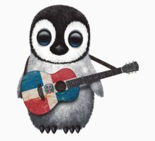 Baby Penguin Playing Dominican Republic Flag Guitar One Piece - Short Sleeve
