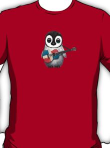 Baby Penguin Playing Dominican Republic Flag Guitar T-Shirt