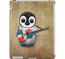 Baby Penguin Playing Dominican Republic Flag Guitar iPad Case/Skin