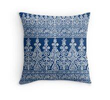 Indigo and White Paisley Pattern Throw Pillow