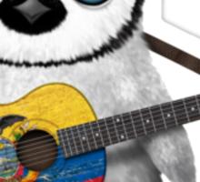 Baby Penguin Playing Ecuadorian Flag Guitar Sticker