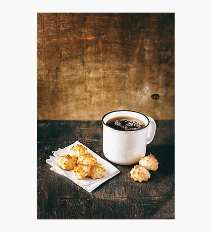 Big Vintage Cup of Tea with Tiny Coconut Cookies Photographic Print