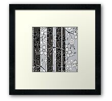 The floral pattern.Black and white.Striped background. Framed Print