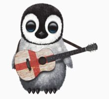 Baby Penguin Playing English Flag Guitar Kids Clothes