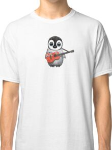 Baby Penguin Playing Bermuda Flag Guitar Classic T-Shirt