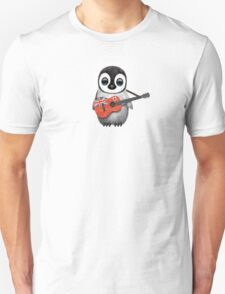 Baby Penguin Playing Bermuda Flag Guitar Unisex T-Shirt