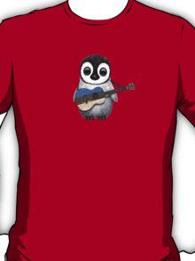 Baby Penguin Playing Estonian Flag Guitar T-Shirt