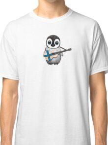Baby Penguin Playing Finnish Flag Guitar Classic T-Shirt