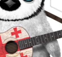 Baby Penguin Playing Georgian Flag Guitar Sticker