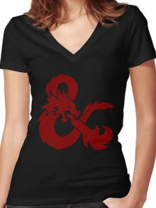 DnD logo (Red) Women's Fitted V-Neck T-Shirt