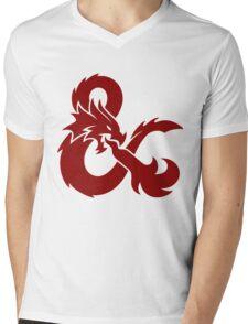 DnD logo (Red) Mens V-Neck T-Shirt