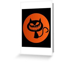 Horror Scary Cat Face Ghost Greeting Card