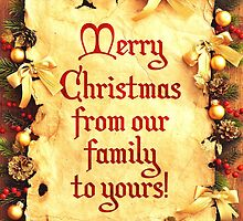 Holiday Parchment Christmas Card - Merry Christmas by Sol Noir Studios