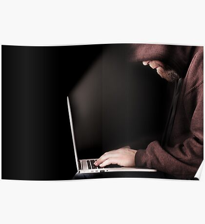 Male computer hacker wearing a hooded top Poster