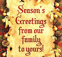 Holiday Parchment Christmas Card - Seasons Greetings by Sol Noir Studios