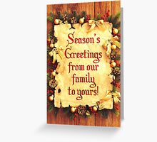Holiday Parchment Christmas Card - Seasons Greetings Greeting Card