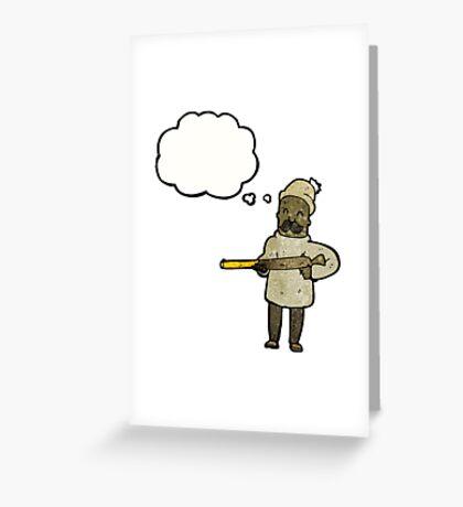 cartoon hunter with rifle Greeting Card
