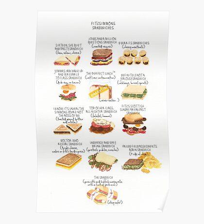 Fitzsimmons Sandwiches Watercolour  Poster