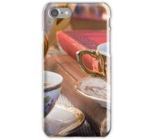 Retro porcelain coffee cups with hot espresso closeup iPhone Case/Skin