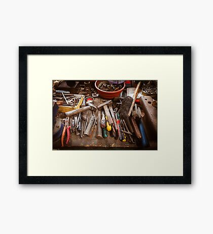 Toolbox in old garage - retro style with vignette Framed Print