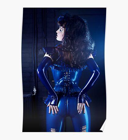 Blue latex corset 02 Poster