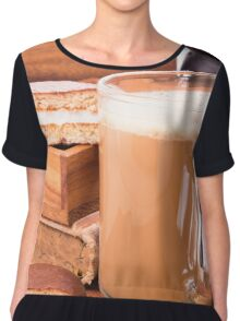 Big mug of hot cocoa with foam and chocolate biscuit halves Chiffon Top